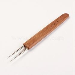 Crochet en acier double, Aiguilles à crochets dreadlock, poignée en bambou, Sienna, 133x13.5x5mm, pin: 0.5 mm(TOOL-WH0095-01)
