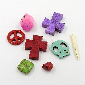 Magnesite Beads, Dyed, Mixed Shape, Mixed Color, 5~44x5~30x4~10mm, Hole: 1~3mm(G-MSMC007-M3)