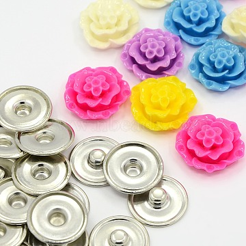 DIY Snap Button Making, Mixed Flower Resin Cabochons and Brass Snap Buttons, Mixed Color, Button: 18x4mm, Knob: 6mm, Cabochons: 20x8mm(BUTT-X0010)