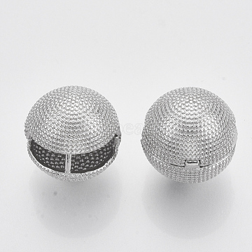 Brass Ball Clip-on Earrings, Nickel Free, Real Platinum Plated, 16.5x17.5x17.5mm, Pin: 1.2x1mm(KK-T050-051P-NF)
