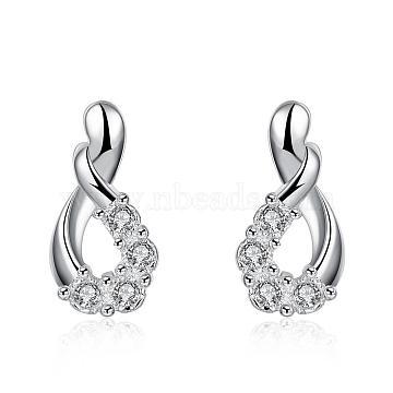 teardrop, Silver Color Plated Brass Cubic Zirconia Stud Earrings, 17x9mm(EJEW-BB12294)