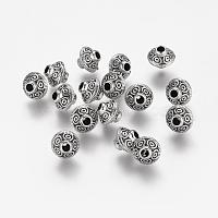 Tibetan Style Alloy Beads, Bicone, Antique Silver, Cadmium Free & Lead Free, 7x6mm, Hole: 2mm