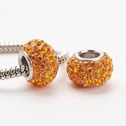 cristal autrichien perles européennes, grandes perles de trou, le noyau sterling silver, rondelle, 248 _sun, 11~12x7.5 mm, trou: 4.5 mm(STER-E049-E04)