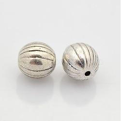 perles de style tibétain au long de l'alliage, sans plomb et sans cadmium et sans nickel, argent antique, sur 7 mm de diamètre, trou: 1 mm(X-LF0908Y-NF)