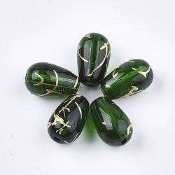 Perles de verre drawbench, goutte , verte, 9x6mm, Trou: 1mm(GLAD-T001-01A-05)