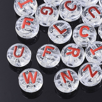 Plating Transparent Acrylic Beads, with Glitter Powder, Metal Enlaced, Flat Round with Letter, Red, 10x6mm, Hole: 1.8mm(X-MACR-T032-03D)