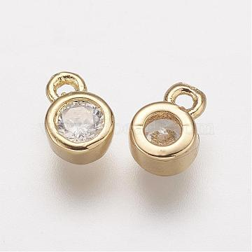 Golden Clear Round Brass+Cubic Zirconia Charms