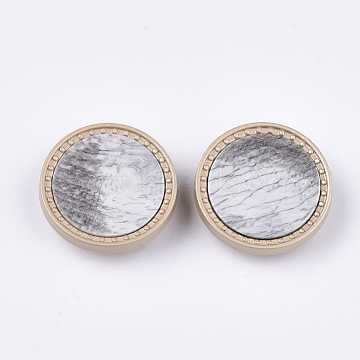 Alloy Shank Buttons, with Acrylic, 1-Hole, Flat Round, Gainsboro, 25x7mm, Hole: 2mm(BUTT-T003-06A)