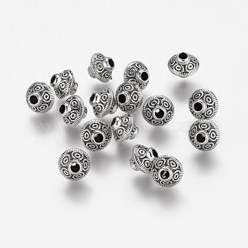 Tibetan Style Alloy Beads, Bicone, Antique Silver, Cadmium Free & Lead Free, 7x6mm, Hole: 2mm(X-TIBEB-5981-LF-2)