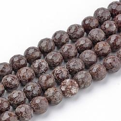 """Chapelets de perles de flocon de neige en obsidienne naturelle, facette, rond, 8~8.5mm, trou: 1mm; environ 47 pcs/chapelet, 15.5""""(G-Q462-89-8mm)"""