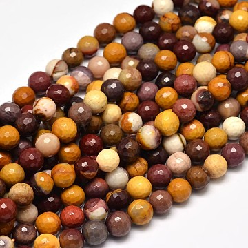 Faceted Natural Mookaite Round Bead Strands, 8mm, Hole: 1mm; about 47pcs/strand, 15inches(G-F266-16-8mm)