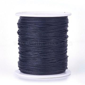 Cordons de fil de coton ciré, noir, 1 mm; environ 100 mètres / rouleau (300 pieds / rouleau)(YC-R003-1.0mm-332)