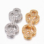 Mixed Color Brass+Cubic Zirconia Fold Over Clasps(ZIRC-G049-14)