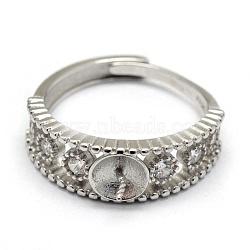 Composants de bague réglables en 925 argent sterling, pour la moitié de perles percées, avec zircons, platine, taille 8, 18 mm; plateau: 5 mm, pin: 0.7~1 mm(STER-P041-64P)