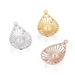 Pendentifs en laiton, avec zircons, pour la moitié de perles percées, goutte , clair, couleur mixte, 23.5x14.5x4.5mm, trou: 1.2 mm; diamètre intérieur: 12 mm; goupille: 1mm(KK-L177-20)