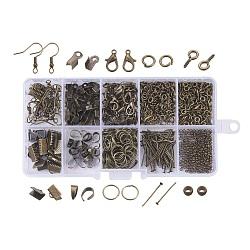 Diy ювелирная фурнитура, Зажимные бусины из латуни, штифты головки железа, Концы тесемки, крюк серьги, винт глаз контактный залог колышек, зажать под поручительство, Перейти кольцо, Карабин-лобстер из цинкового сплава, античная бронза, 13x6.8x2.1 см(DIY-X0098-15AB)