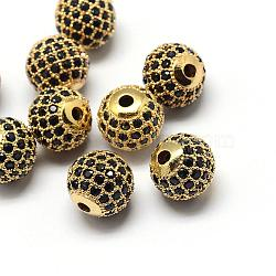 Rack Plating Brass Cubic Zirconia Beads, Long-Lasting Plated, Round, Golden, 6x6mm, Hole: 1.5mm(ZIRC-S001-6mm-B02)
