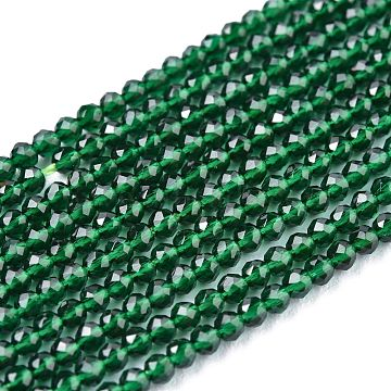 Glass Beads Strands, Imitation Quartz, Faceted, Round, Green, 2mm, Hole: 0.5mm,  about 175pcs/strand, 14.9 inches(38cm)(G-K185-16C)