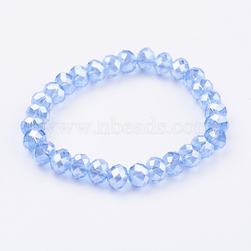 Glass Beads Stretch Bracelets, Faceted Abacus, CornflowerBlue, 1-7/8inches(48.5mm)(GLAA-K018-01B)