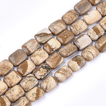 image Naturel jaspe perles brins, rectangle, 17.5~18.5x13~13.5x6~7 mm, trou: 1 mm; environ 22 perle / brin, 15.5(X-G-T121-12)