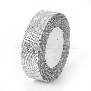 Glitter Metallic Ribbon, Sparkle Ribbon, DIY Material for Organza Bow, Double Sided, Silver, 1inches(25mm), 25yards/roll(22.86m/roll)(X-ORIB-25mm-S)