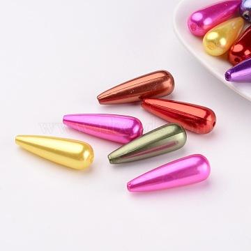 Mixed ABS Plastic Imitation Pearl Beads Teardrop Beads, 30x10mm, Hole: 1.5mm(X-MACR-G004-M)