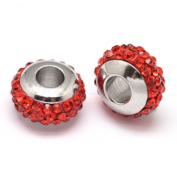 Rondelle 304 Stainless Steel Polymer Clay Rhinestone European Beads, with Double Side Platinum Color Core, Stainless Steel Color, Hyacinth, 10x6mm, Hole: 4mm(GPDL-P003-08)