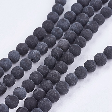 Natural Black Stone Bead Strands, Round, Black, 8mm, Hole: 1mm; about 46pcs/strand, 14.76 inches(G-R193-01-8mm)