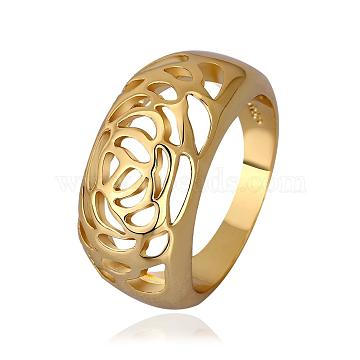 Hollow Flower Real 18K Gold Plated Tin Alloy Wide Band Rings, Chunky Rings, US Size 8(18.1mm)(RJEW-BB14248-8)