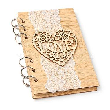 bloc-notes de livres d'or de mariage en bois(AJEW-H114-03)-1