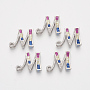 Real Platinum Plated Colorful Alphabet Brass+Cubic Zirconia Slide Charms(ZIRC-S063-01M-P)
