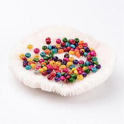 200pièces perles en rondelles mixtes en bois sans plomb, teint, 4mm, trou: environ 1.2 mm(X-YTB026)