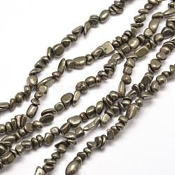 """Pépites de pyrite naturelles perles brins, 5~8x4~6mm, trou: 1 mm; environ 15.7""""(G-I125-81)"""