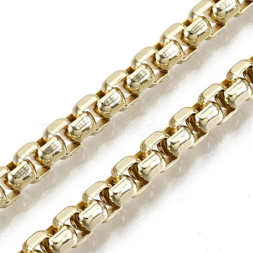 Brass Box Chains, Long-Lasting Plated, Soldered, Light Gold, 4x3x2mm(CHC-N018-089)