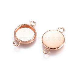 304 настройки разъема кабошона из нержавеющей стали, чашки безель с краем, плоские круглые, розовое золото, лоток: 8 мм; 10x17x2 мм, отверстия: 2.5 mm(STAS-E484-45G-RG)