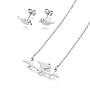 304 Stainless Steel Jewelry Sets, Stud Earrings and Pendant Necklaces, Bird, Stainless Steel Color, Necklace: 18.9 inches(48cm), Stud Earrings: 5x12x1.2mm, Pin: 0.8mm