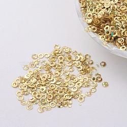 ornement accessoires plastique paillette / paillettes perles, anneau, or, 2x0.1 mm, trou: 0.8 mm(PVC-E001-06-LS01)