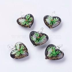 Pendentifs vernissées manuelles, fleur intérieure, Pendentifs grand trou, cœur, verte, 35~39x30~34x12~16mm, Trou: 4~7mm(LAMP-J090-C01)