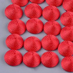Cabochons en tissu de fil de polyester, recouvert de plastique abs, demi-rond / dôme, rouge, 14.5x7mm(WOVE-T008-02B-01)
