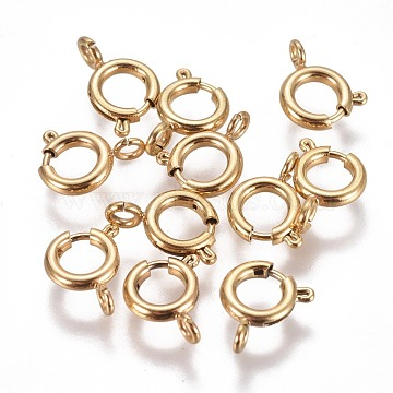 Vacuum Plating 304 Stainless Steel Spring Ring Clasps, Golden, 8x1.8mm, Hole: 1.8mm(STAS-F224-02G-C)
