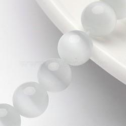 """Бусины Кошачие Глаза, круглые, белые, 8 мм, отверстия: 1 mm; 14.5"""" / прядь, около 49 шт / нитка(X-CER8mm01)"""