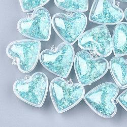 Пластиковые подвески, с сухими цветами и стразами, сердце, голубой, 29x30x18 мм, отверстие : 1.8 мм(KY-T004-09E)
