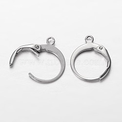 304 Stainless Steel Leverback Earring Findings, with Loop, Stainless Steel Color, 14.5x12x2mm, Hole: 1mm(X-STAS-I045-02)