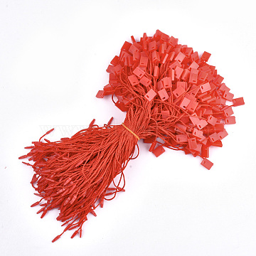 Polyester Cord with Seal Tag, Plastic Hang Tag Fasteners, Red, 185~195x1mm; about 850pcs/bag(CDIS-T001-09D)