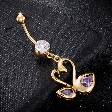 Environmental Brass Cubic Zirconia Navel Ring, Belly Rings, with Use Stainless Steel Findings, Real 18K Gold Plated, Swan, Lilac, 47x20mm, Pin: 1.5mm(AJEW-EE0004-22B)