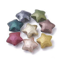 Perles acryliques de style caoutchouté, facette, étoiles, couleur mixte, 27x29x17mm, Trou: 3.5mm(MACR-S280-01)