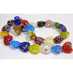 Handmade Millefiori Glass Beads Strands, Mother's Day Gift Beads, Heart, Mixed Color, 12mm in diameter, hole: 1mm, 32pcs/strand, 13.5 inches(X-LK23)