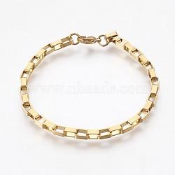 """Bracelets à chaînes en 304 acier inoxydable, avec fermoir pince de homard, or, 7-7/8"""" (20 cm), 4mm(BJEW-P236-25G)"""