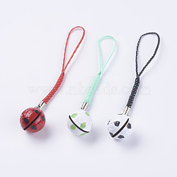 Brass Bell Mobile Straps, with Random Color Nylon Cord, Pendant Decoration, FootBall/Soccer Ball, Mixed Color, 104mm(HJEW-I003-02)