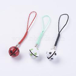 Courroies mobiles de cloche en laiton, avec cordon en nylon de couleur aléatoire, décoration pendentif, ballon de football / soccer, couleur mixte, 104mm(HJEW-I003-02)